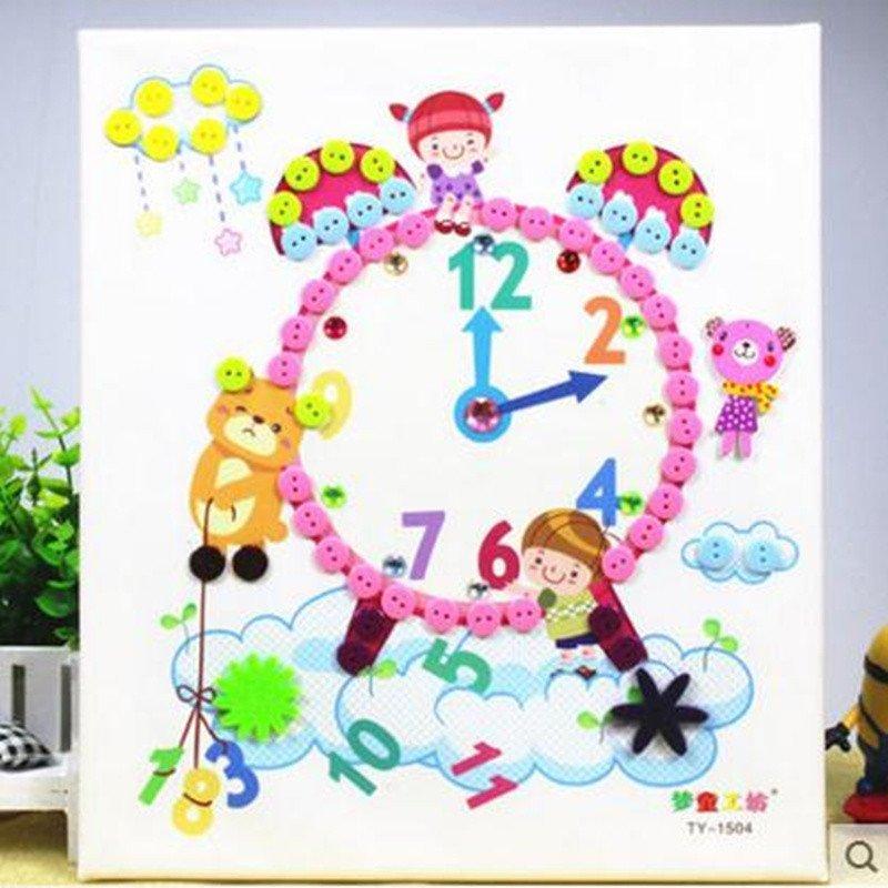 木质相框diy纽扣画 儿童手工制作 幼儿园扣子粘贴画玩具高清实拍图