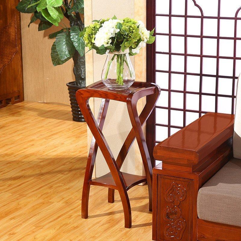 现代新中式全实木花架 水曲柳家用螺旋置物架 客厅实木家具