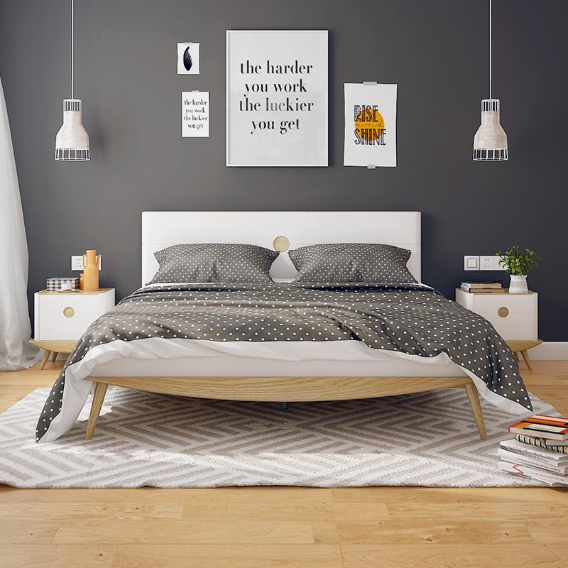 斯品家居 泊系列卧室组合 北欧简约现代木床衣柜床头柜套装 1.