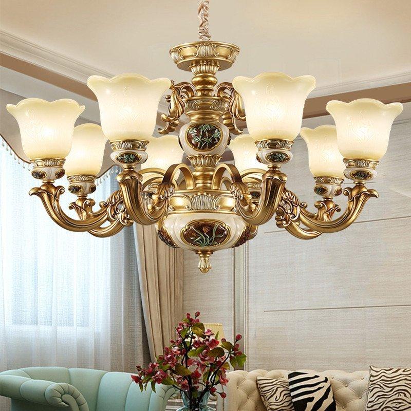 异朵欧式吊灯客厅灯田园简欧树脂灯饰复古铁艺大厅灯具卧室餐厅灯6054