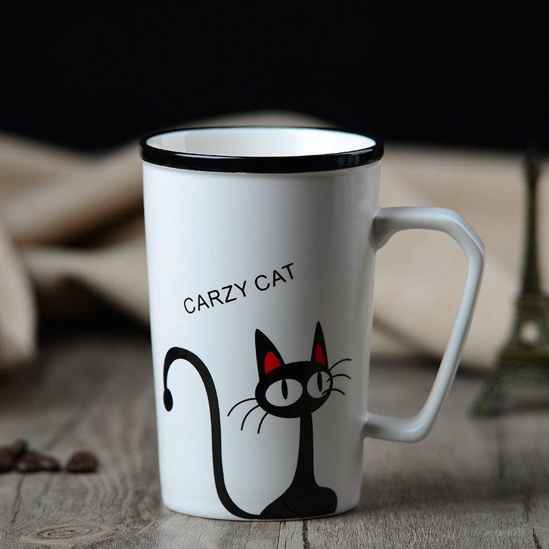 友来福|创意卡通办公室马克杯可爱喵咪陶瓷杯子咖啡杯情侣水杯 溜溜猫
