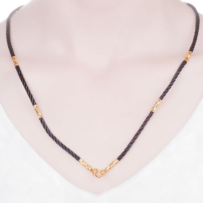 钻石快线 黄金项链 足金红绳转运珠黄金手工编织绳金珠项链情侣款(含