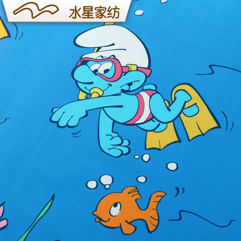 水星家纺 全棉斜纹印花三/四件套 漫游精灵 蓝精灵卡通床单被套 1.图片