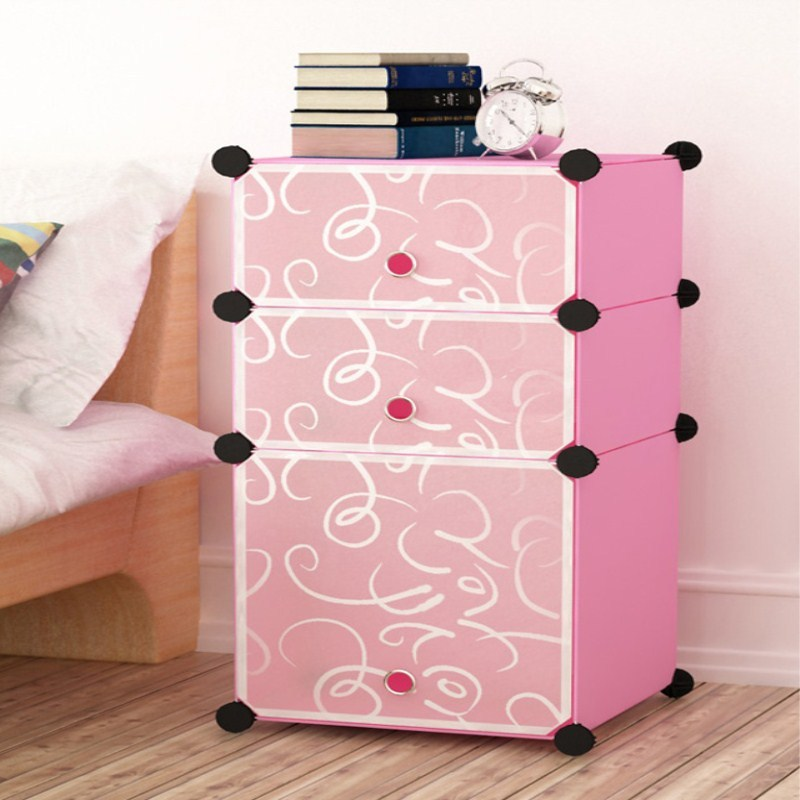 组装环保塑料储物柜简易收纳柜儿童衣柜