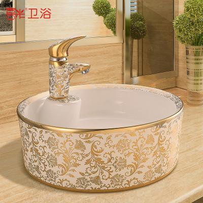 欧式洗手盆陶瓷台上盆洗脸盆洗漱艺术盆台盆彩金洗形