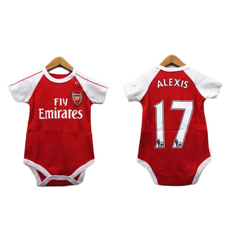 欧洲杯婴儿阿森纳球衣 足球三角宝宝短袖足球服 哈衣爬服连体衣高清