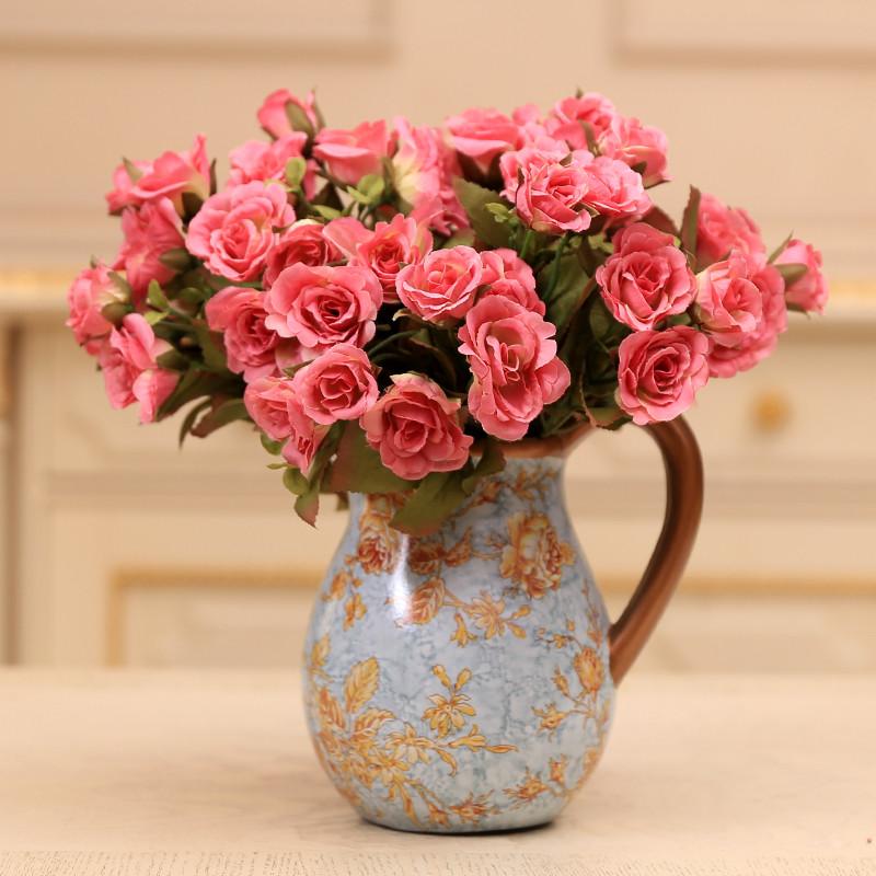 贝亚特玛丽亚玫瑰家居装饰品 欧式田园整体花艺花瓶摆件 -带3束奶白