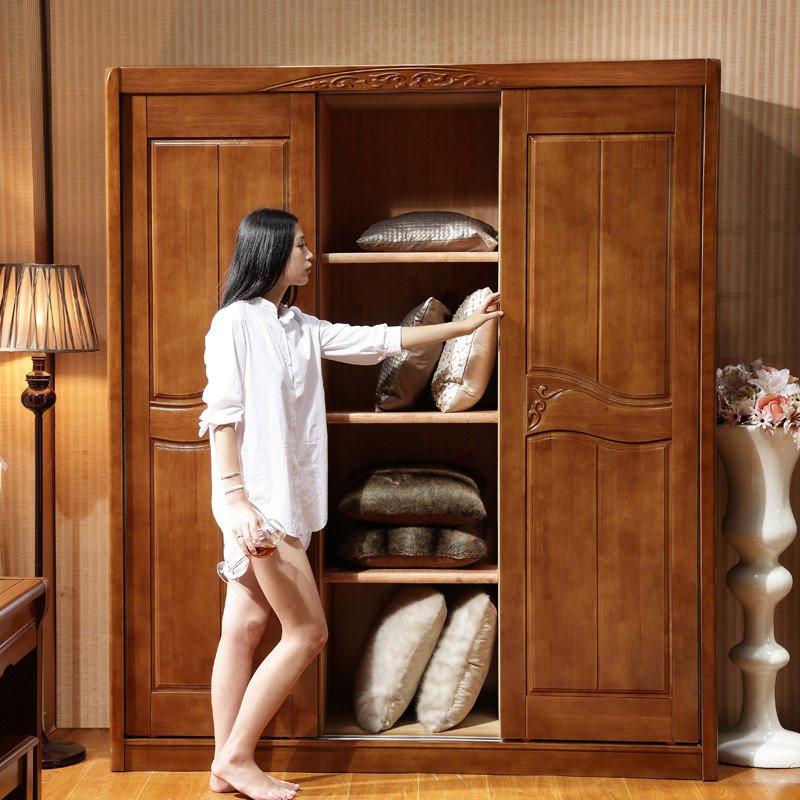 忆斧至家 实木衣柜 橡木衣柜 卧室储物柜衣物收纳柜子 三门推拉式大