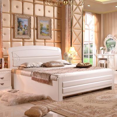 御品梓匠 主卧室成套家具床 1.8米实木床白色双人床