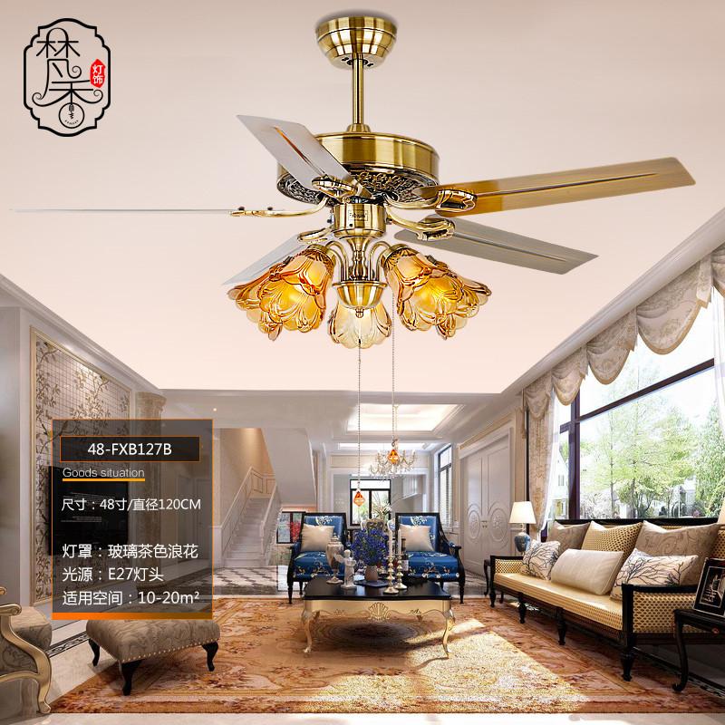 梵香鐵葉吊扇燈 餐廳歐式風扇燈簡約現代電扇燈led復古客廳帶風扇吊燈