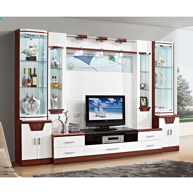 琪幻 现代影视墙电视柜组合 酒柜背景柜电视墙柜一体柜 客厅家具影视