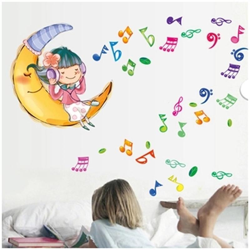 宜佳蕙卡通音符旋律贴纸儿童房学校幼儿园宿舍布置墙贴儿童房背景墙