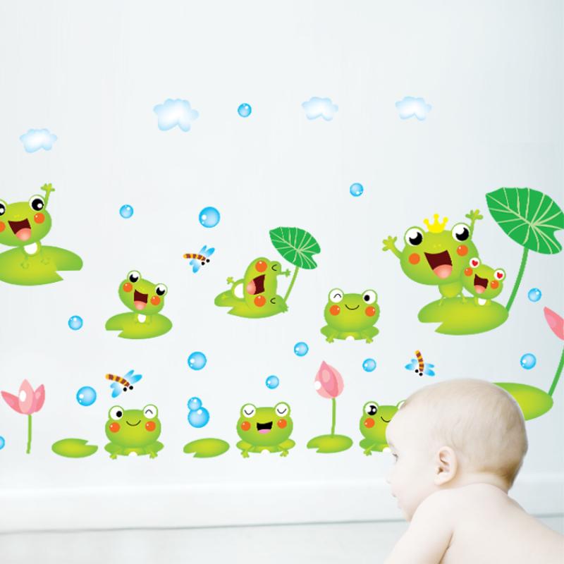 可爱小青蛙 儿童房间卧室客厅背景墙贴画 幼儿园小学教室装饰贴