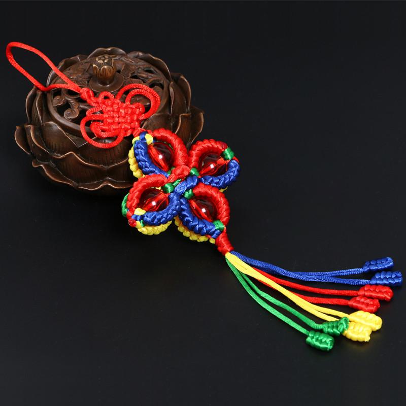 西藏五彩绳编织金刚结十字灯笼金刚结吉祥珠结转经筒汽车挂件挂饰