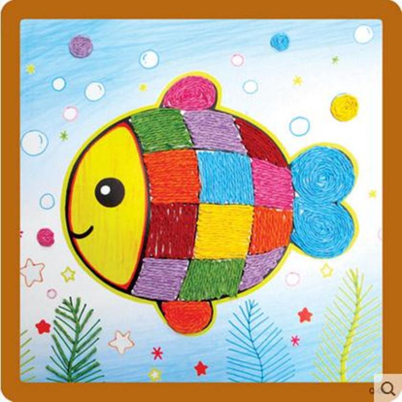 纸绳画 儿童手工制作材料 幼儿园粘贴画 绳子艺术玩具 小鱼高清实拍图