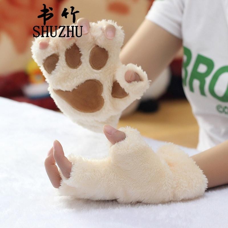 书竹 冬季女大猫爪手套可爱卡通女生露指手套加厚绒毛熊掌半指键盘