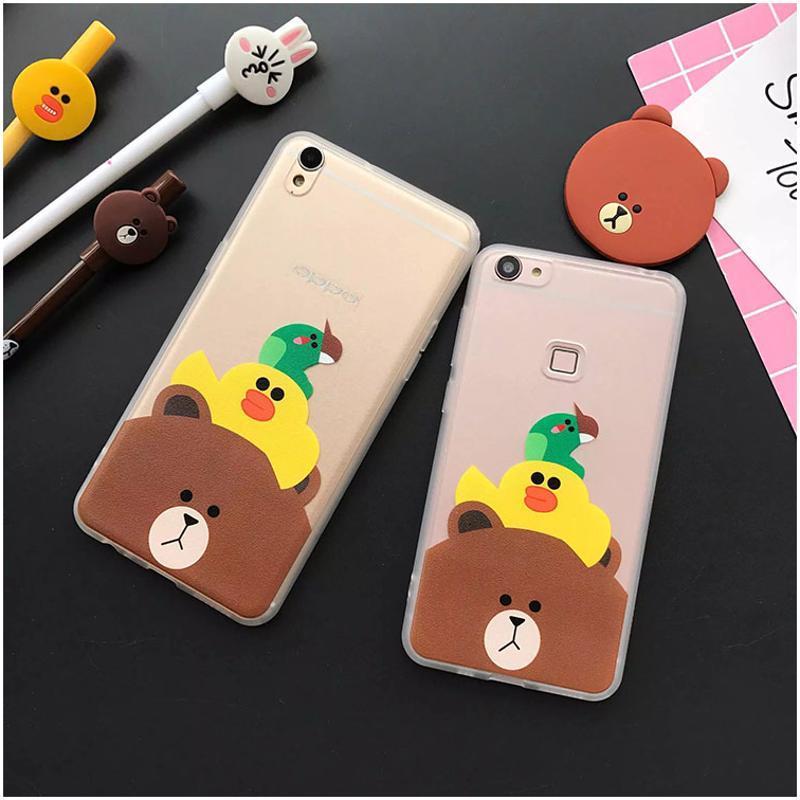 luphie 布朗熊vivox7plus手机壳可爱卡通oppor9挂绳保护套x6浮雕防摔