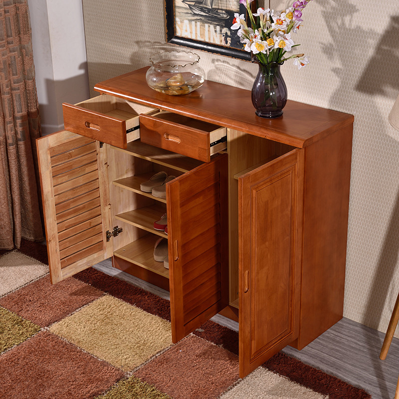 【艾莉哲系列】艾莉哲家具橡胶木实木鞋柜简约鞋架