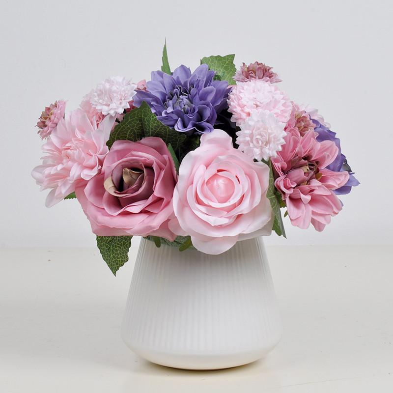 假花 绢花 客厅餐桌装饰花 插花摆设 组合花艺套装 桌摆花-白绿色 白