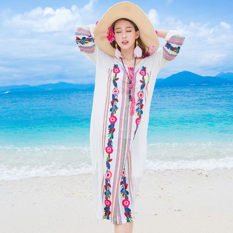 娇米诗2016 夏天民族风刺绣棉麻长袖海边度假波西米亚长裙14811861457
