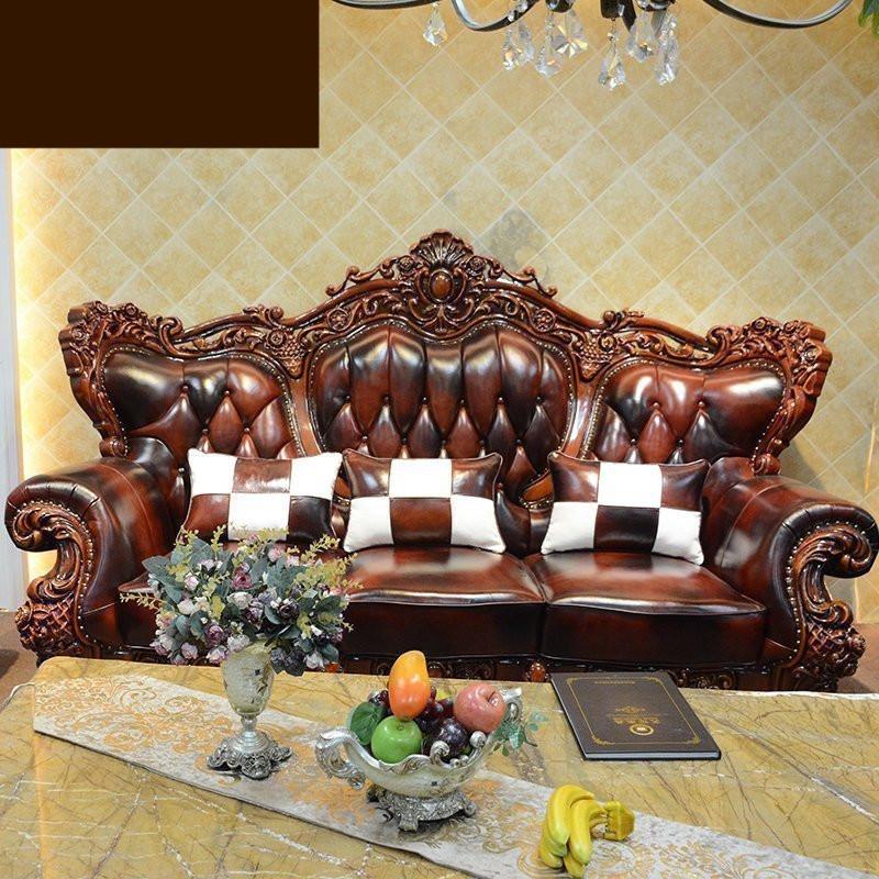 淮木 实木雕花别墅大户型沙发客厅家具欧式皮沙发三人位 单人位