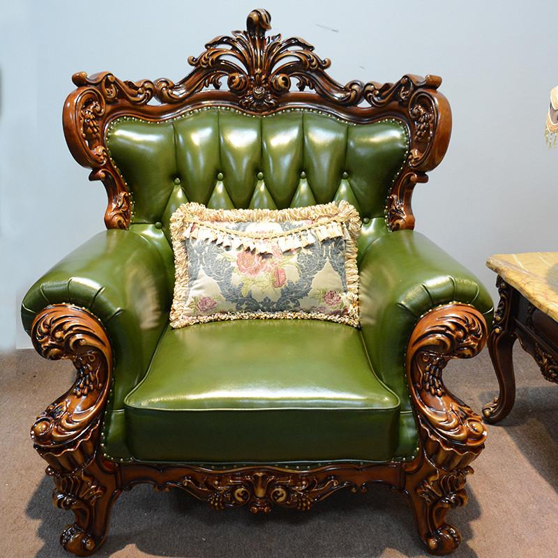 淮木 欧式皮沙发123组合 实木客厅雕花三人位绿色小户型沙发9252 13组