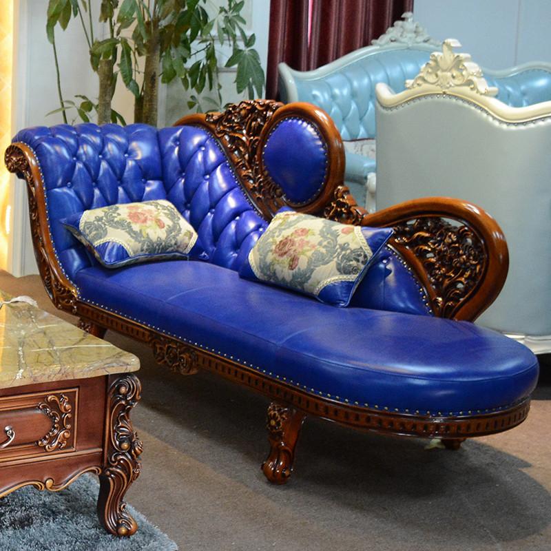 淮木 小户型组合三人位蓝色沙发欧式皮沙发123组合 美式实木雕花沙发