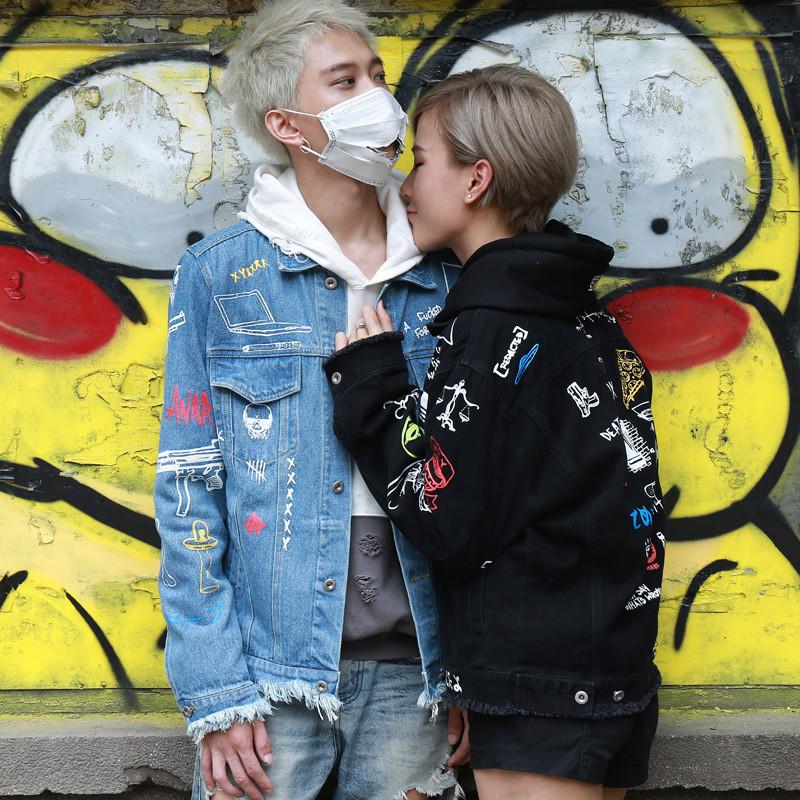 丹杰仕欧美街头非主流手绘涂鸦情侣牛仔外套男女个性文艺夹克 m 黑色