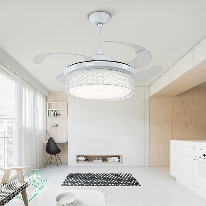 嘉业隐形风扇灯 吊扇灯餐厅卧室北欧现代简约家用遥控电风扇吊灯 白色