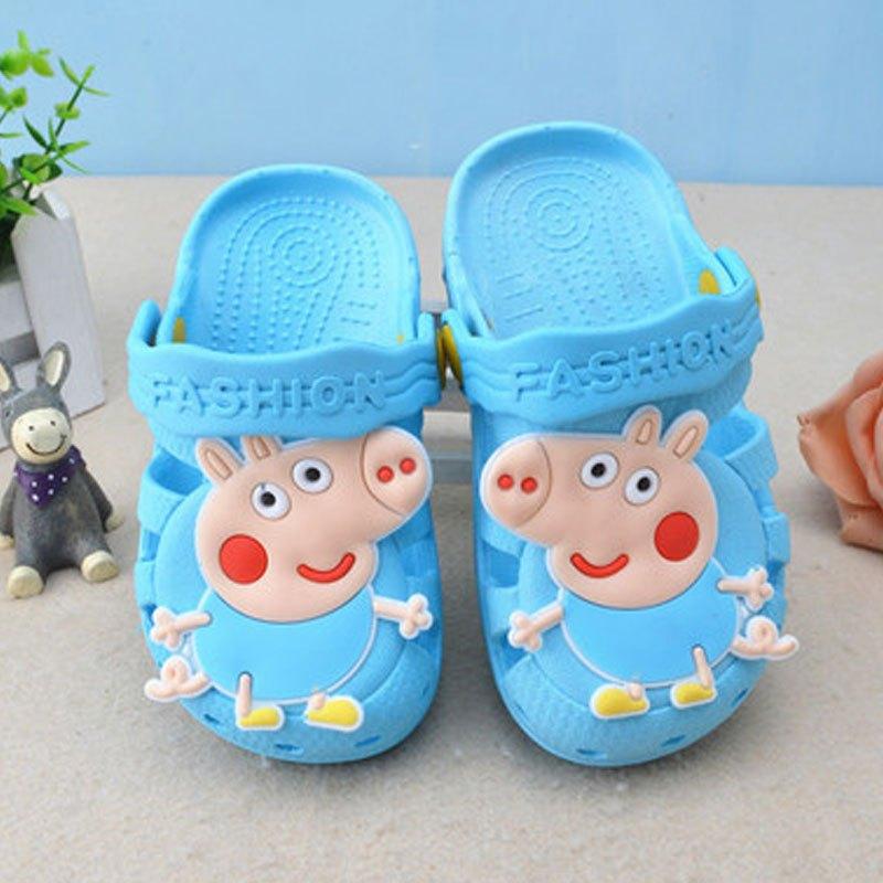 拖鞋小猪佩奇女童男童室内防滑软底拖鞋可爱宝宝洞洞鞋平跟包头凉鞋子