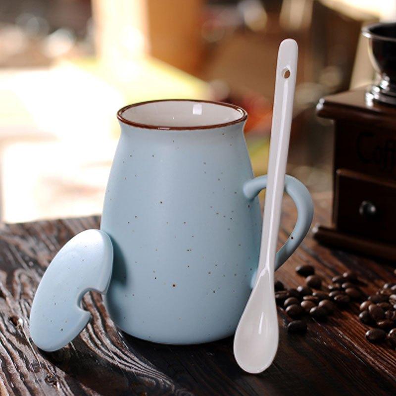 时尚创意生活日用水具水杯 简约复古牛奶杯满天星陶瓷杯子带盖勺