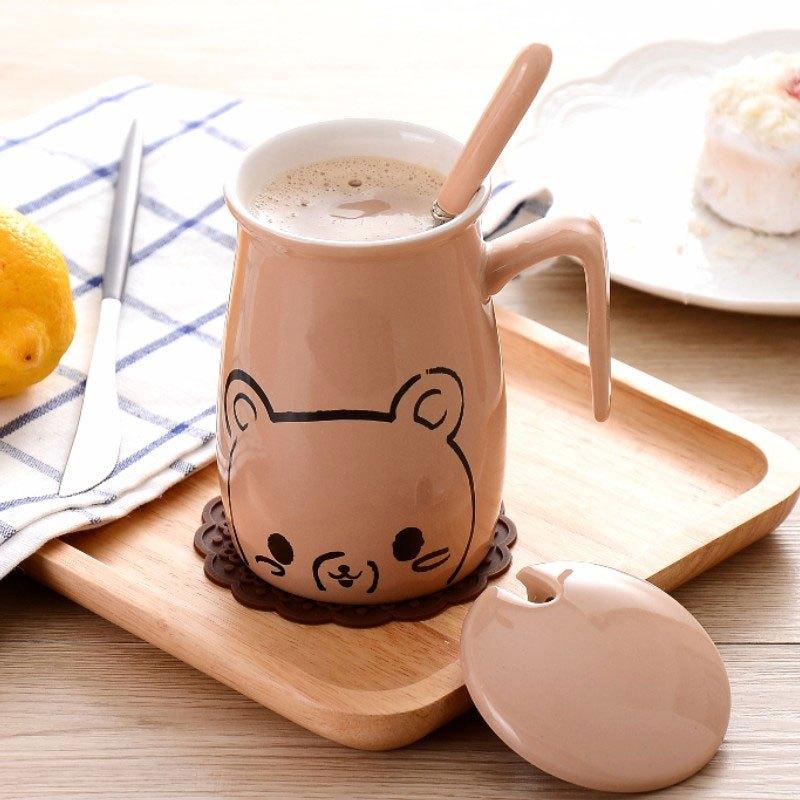 带勺情侣马克杯创意可爱早餐牛奶杯茶杯咖啡杯瓷水杯现代时尚水杯套装