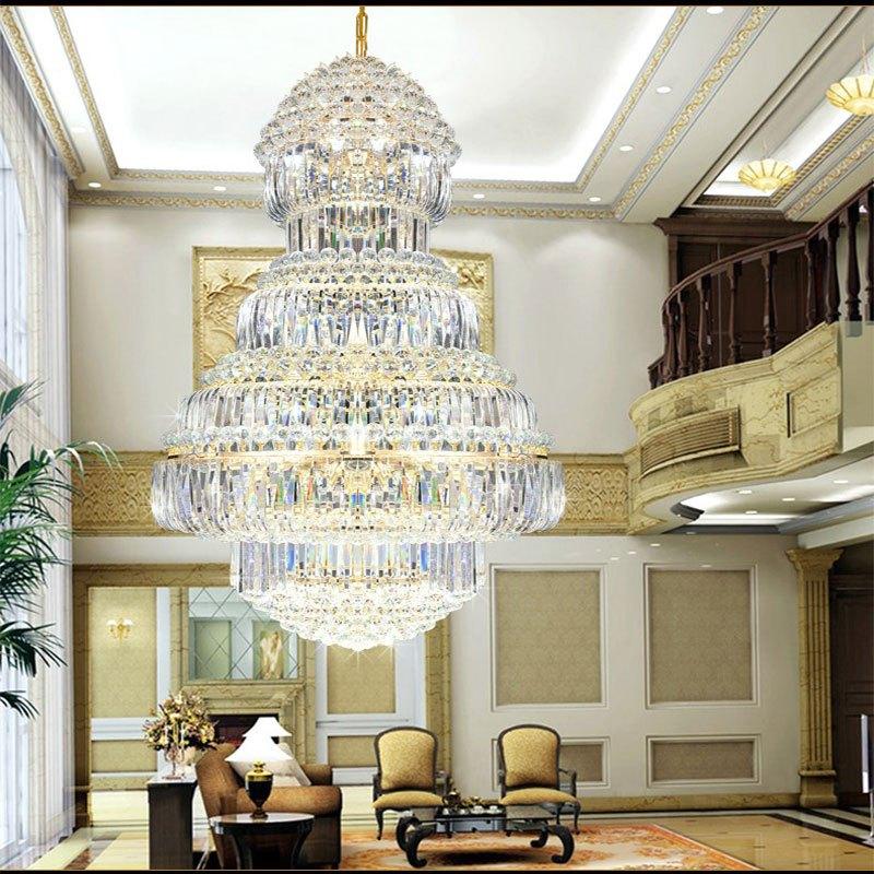 新奥泰佳欧式复式楼客厅大吊灯别墅大厅水晶吊灯楼中楼酒店工程灯
