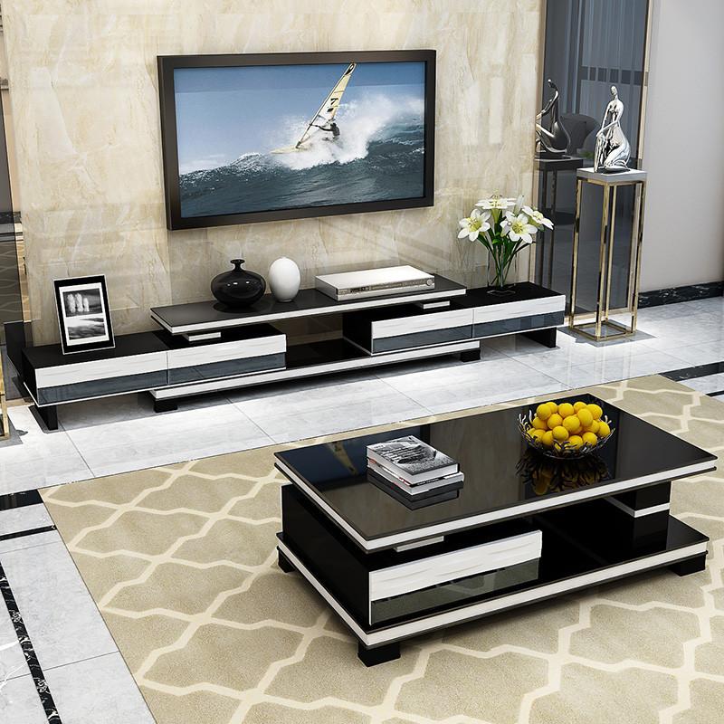 黑白电视柜茶几套装组合 客厅简约现代背景柜烤漆 钢化玻璃影视柜 小