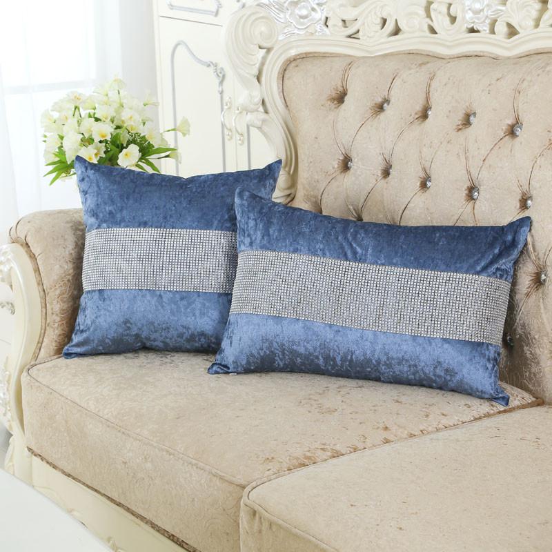 高档欧式现代镶钻沙发抱枕套子 客厅布艺抱枕套靠背套汽车靠枕套不含