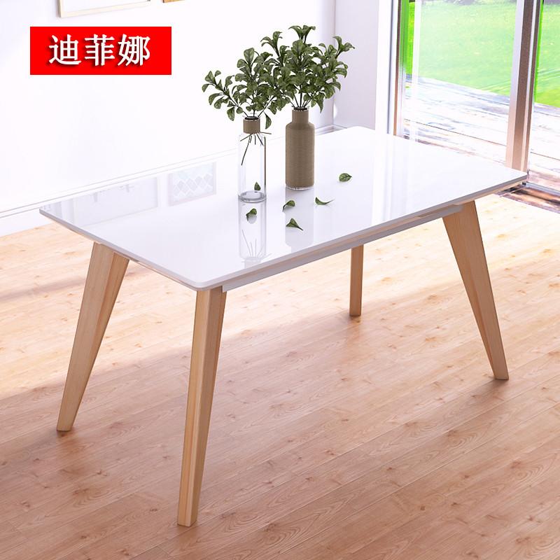 菲迪娜 实木餐桌椅 白蜡木 北欧 饭桌 餐桌椅组合 单餐桌【钢化玻璃】