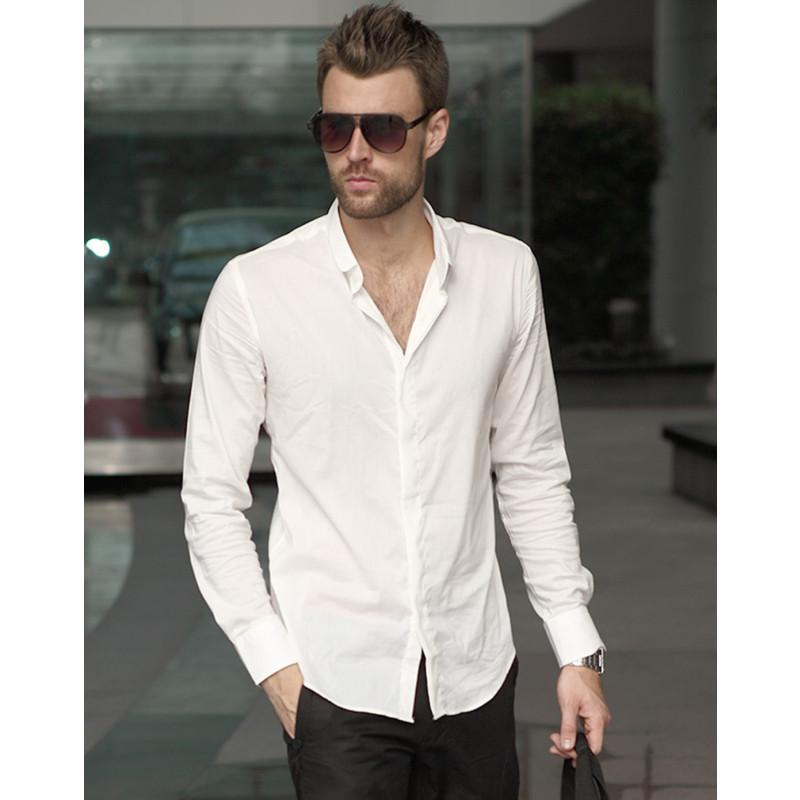 垹l`?af???9???n?+_viishow潮牌夏装男装寸衫男士白色长袖衬衫修身休闲衬衣男款上衣af