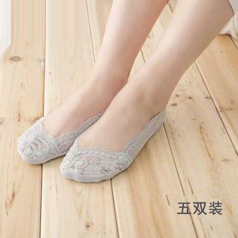 蕾丝船袜女春夏季薄款纯棉隐形浅口低帮脚底防滑硅胶防脱短丝袜子