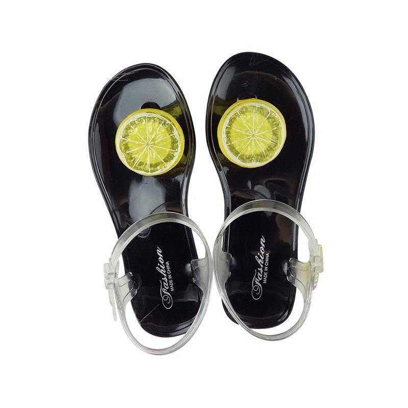 水晶果冻凉鞋女夏季2017新款可爱甜美夹脚中学生平底 橙柠檬白底 40