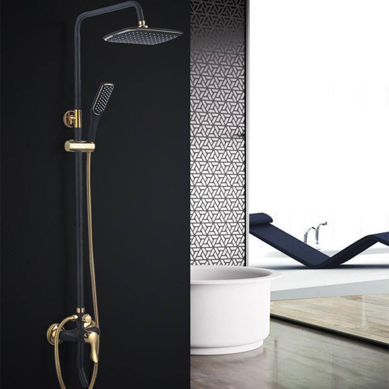 辉瓷卫生间浴室全铜欧式仿古金色黑色黑金大花洒套装沐浴淋浴器 a款图片