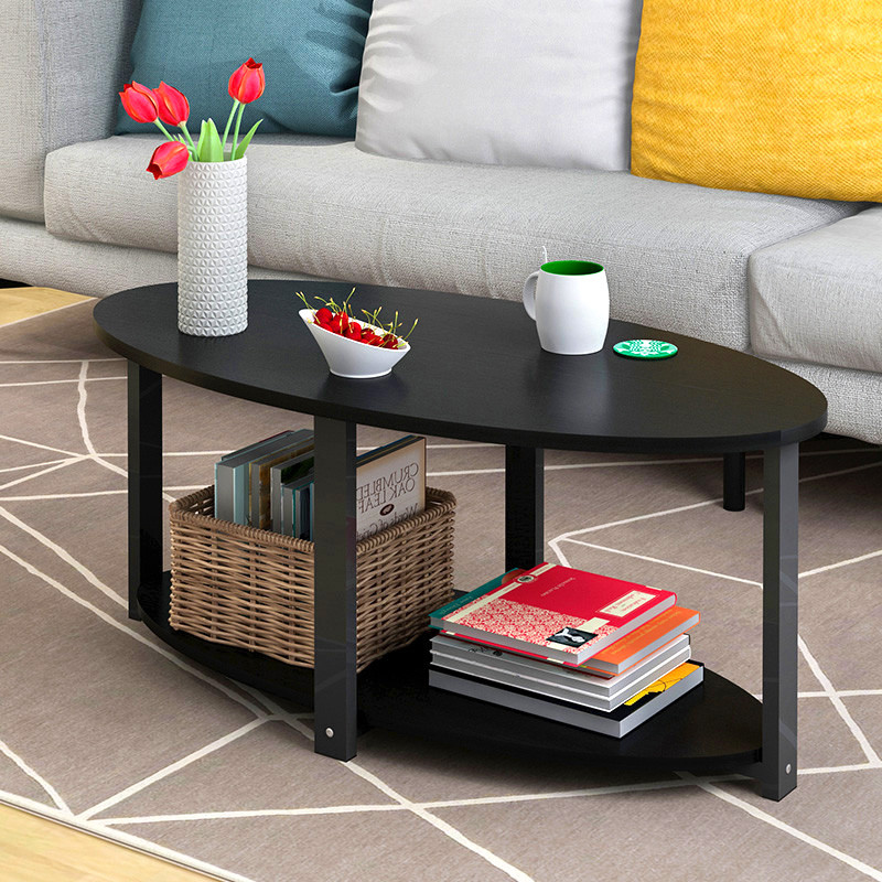 简约客厅茶几迷你小圆桌咖啡桌组装简易沙发边桌茶桌 单层黑柳木120