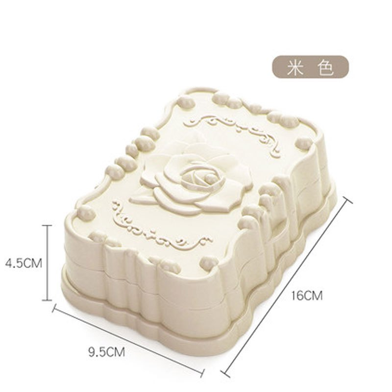 玫瑰雕花肥皂香皂盒盒浴室卫生间沥水创意带盖手工塑料皂托立式体大容