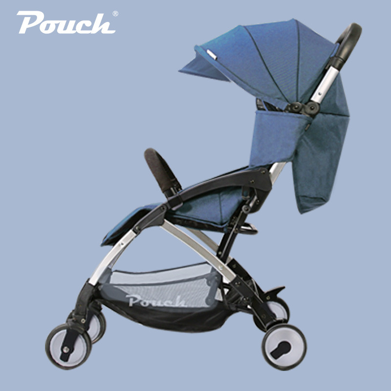 pouch婴儿推车可坐可躺轻便折叠儿童手推车上飞机宝宝伞车夏 牛仔蓝