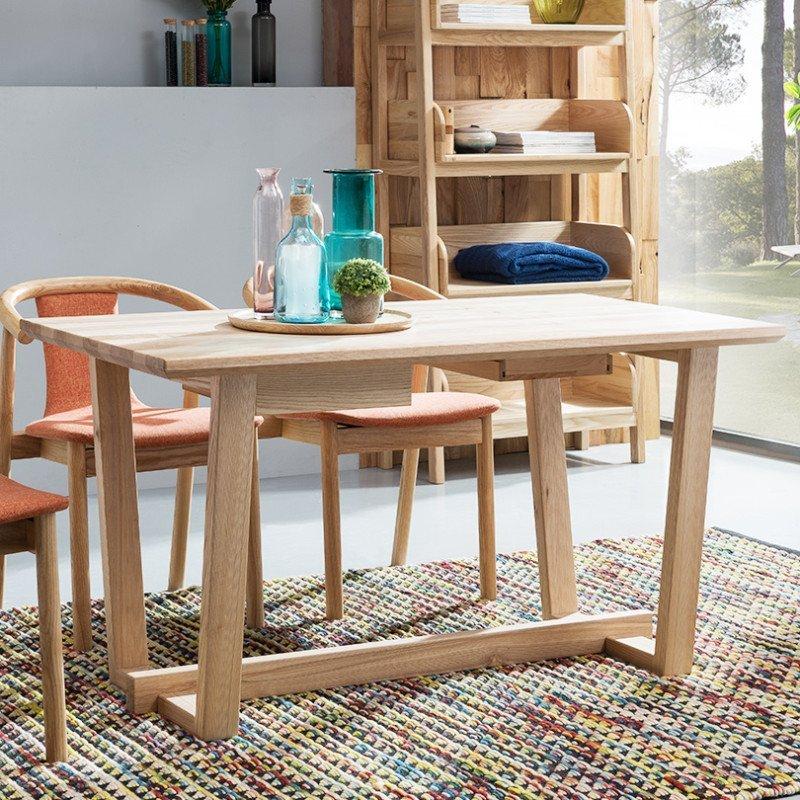 龙森家具 全实木家具北欧白蜡木餐桌 全实木餐桌椅组合北欧风家具