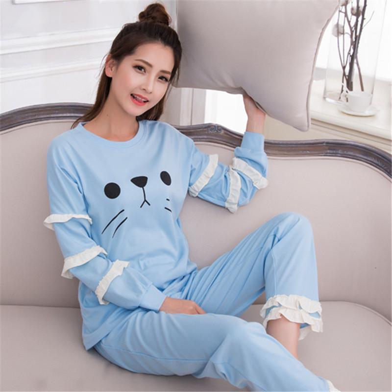 新款睡衣夏季高中高中T恤长袖初中卡通套装女少女西岗图片
