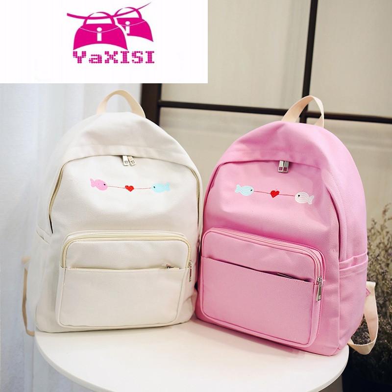 品牌书包女中学生韩版校园潮原宿ulzzang双肩包甜美帆布小鱼旅行背包