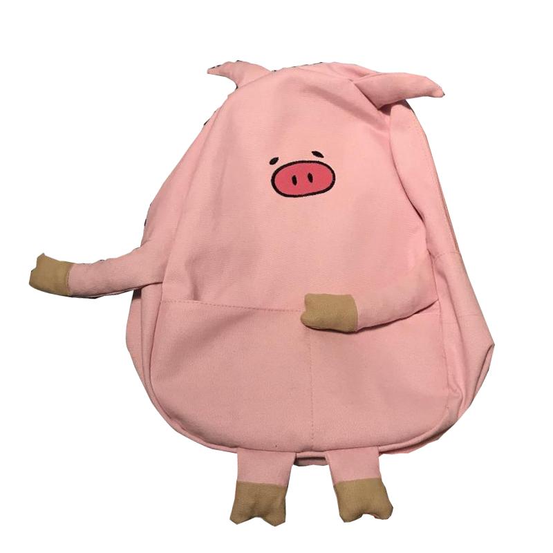 107款】三只小猪超呆萌可爱小猪pig造型帆布街拍软妹学生书包双肩背包