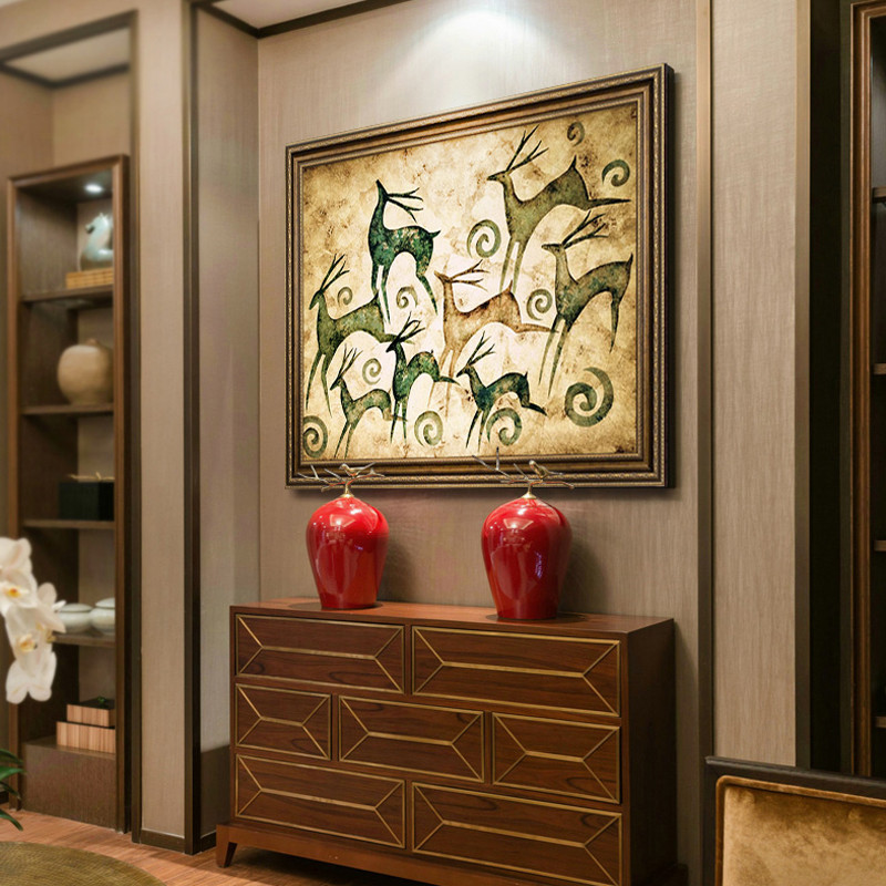 美式客厅装饰画发财鹿装饰画沙发背景墙画 欧式油画挂画玄关餐壁画