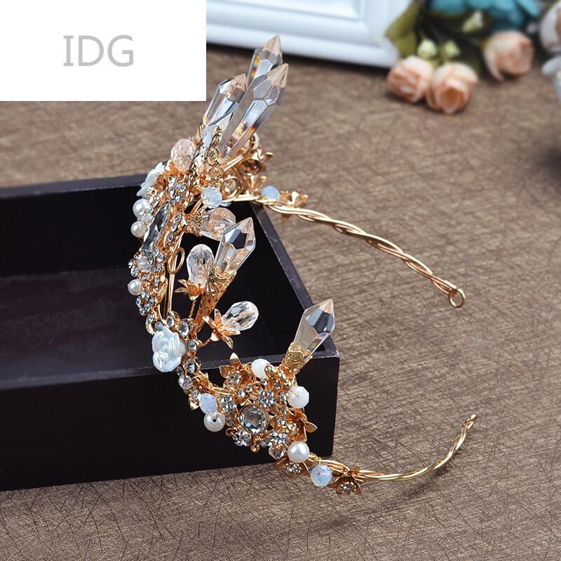 idg85新款欧式新娘皇冠金色水晶发饰复古结婚婚纱礼服配饰拍照头饰 新