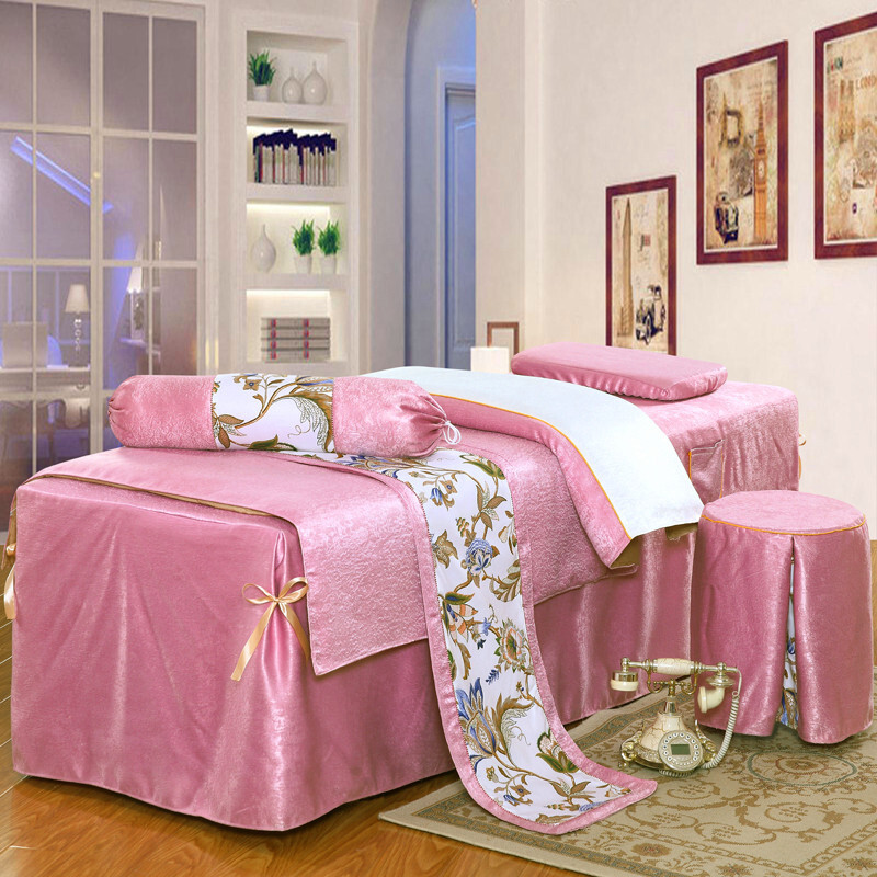 2017新款美容床罩四件套欧式按摩床罩通用洗头床床罩定做熏蒸床罩墨